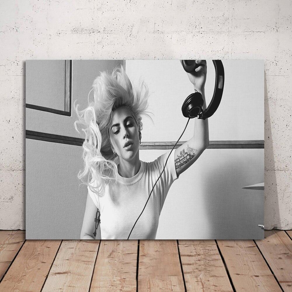 Arte de pared de fotos de blanco y negro pósteres para decorar el hogar de la famosa cantante de Lady Gaga pintura HD impreso foto marco