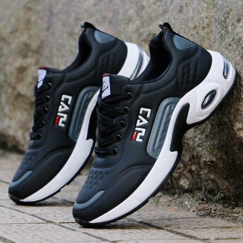Almofada de ar Caminhada ao ar Esportivos para Masculino Homem Branco Sapatos Tênis Respirável Livre Rendas Casuais Bolha Calçados Masculinos