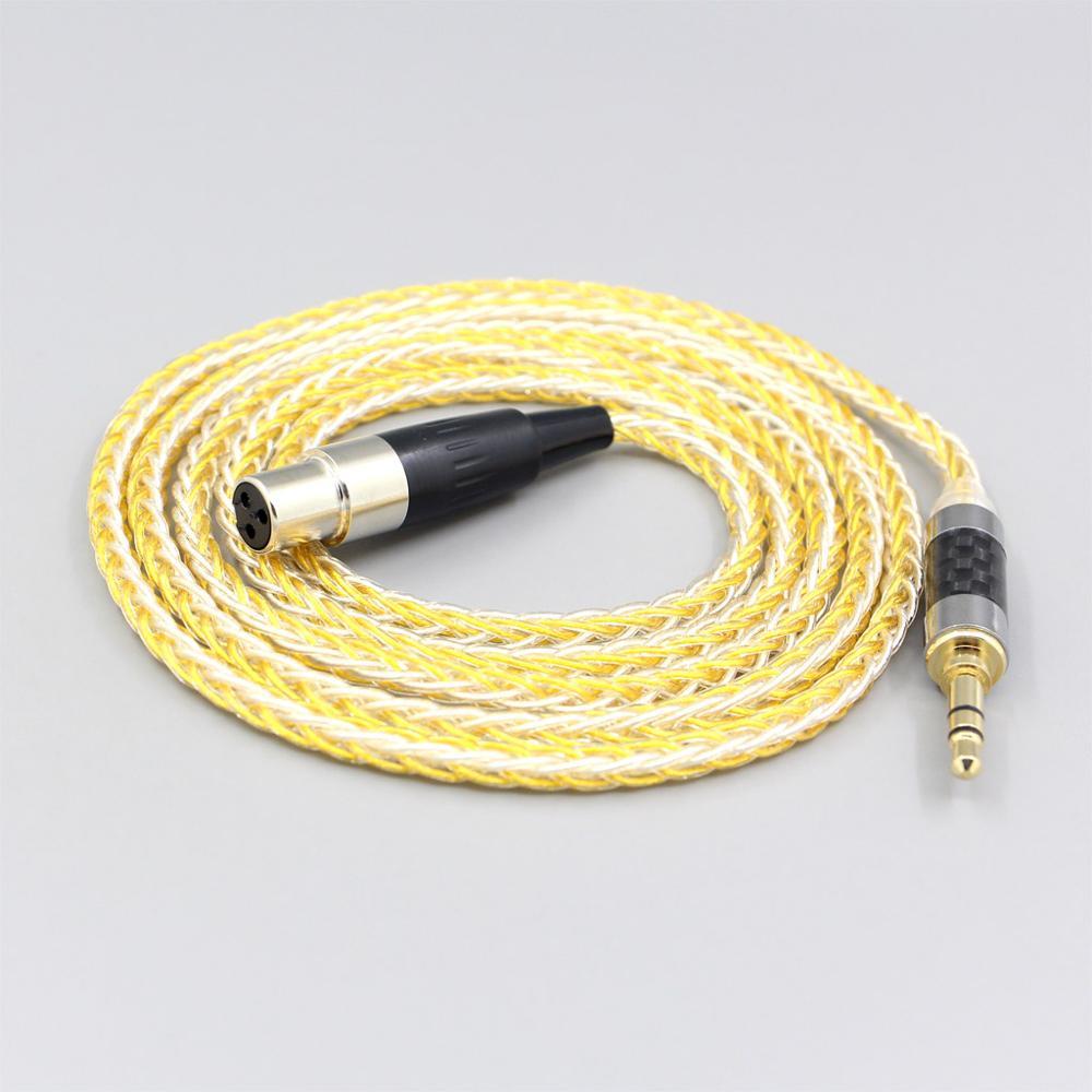 Cable de auriculares trenzado chapado en oro y plata de 8 núcleos...