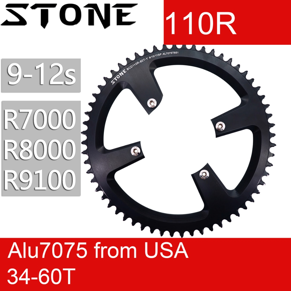 AliExpress - Stone 110 BCD Round Chainring for Shimano R7000 r8000 r9100 34 36 38 42t 48t 50t 54t 56t 58t 60T tooth Road Bike 12s 110bcd