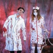 Halloween Blutige Zombie Nurse Weiß Mantel Kleid Scary Cosplay Kostüm Karneval Frauen Männer Paare Chirurg Horror Vampire Outfits