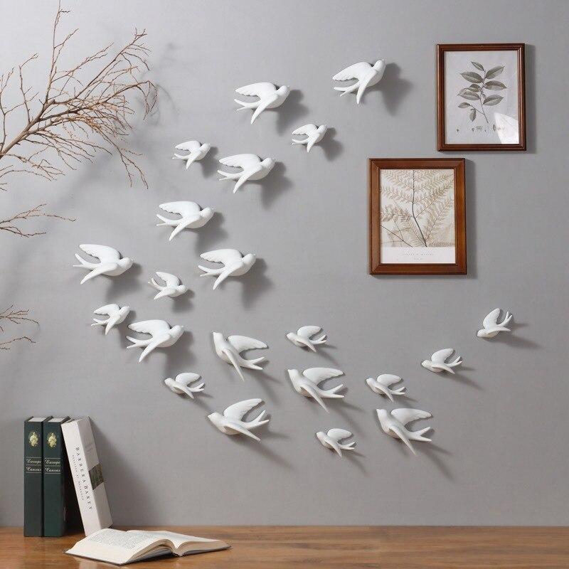 1pc 3D Uccelli di Ceramica Murales Wall Hanging Decorazioni Mestieri Casa Ornamenti LBShipping