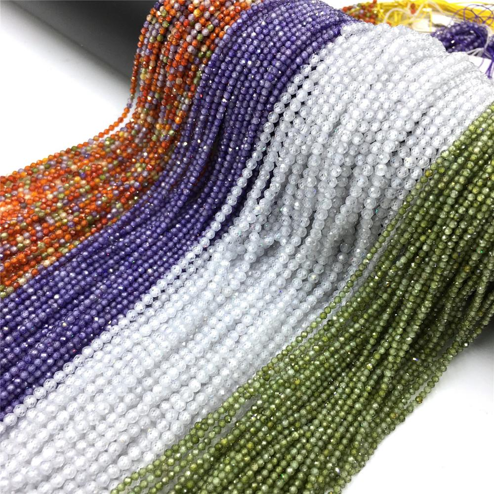 Contas pequenas contas de zircão 2 3mm facetado contas de zircão seção solta contas para diy pulseiras & colares jóias fazendo (38cm)