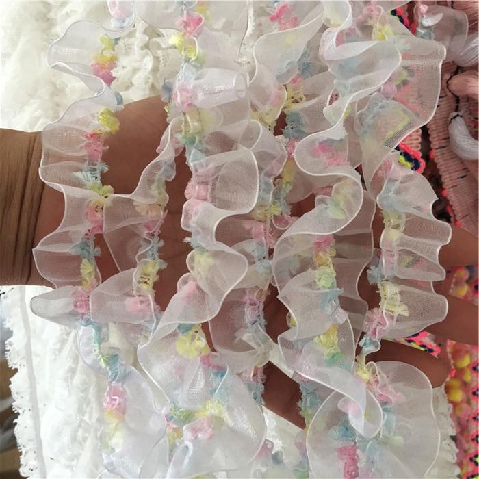 Tulle dentelle plissée élastique 1M   Ruban arc-en-ciel, dentelle, bordure de tissu, accessoires de couture et de décoration, fournitures de vêtements artisanaux, dentelle QY41