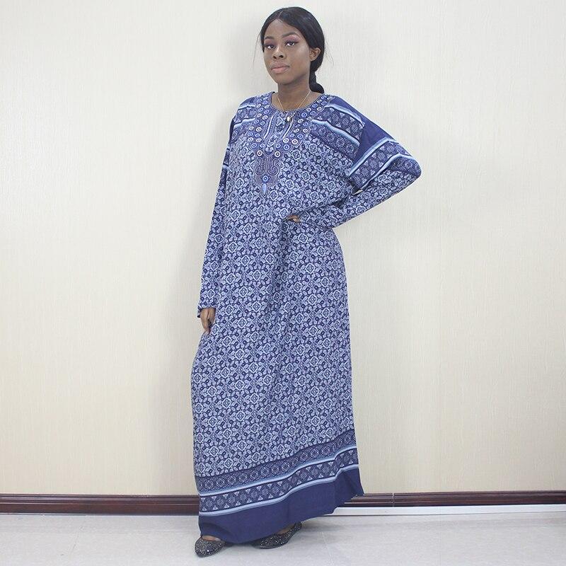 Vestido Dashiki africano de manga larga, estampado Floral azul, con apliques de botón, 100% de algodón Dashikiage, vestido largo elegante para mamá