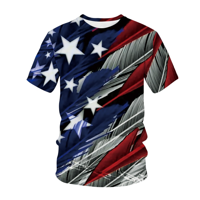 American 3D Eagle Print Men's T-Shirt Hip Hop Glide Flying Eagle Boy Comfortable Short Sleeve 2021 Fashion Street Fitness Top short sleeve cartoon eagle and american flag print t shirt