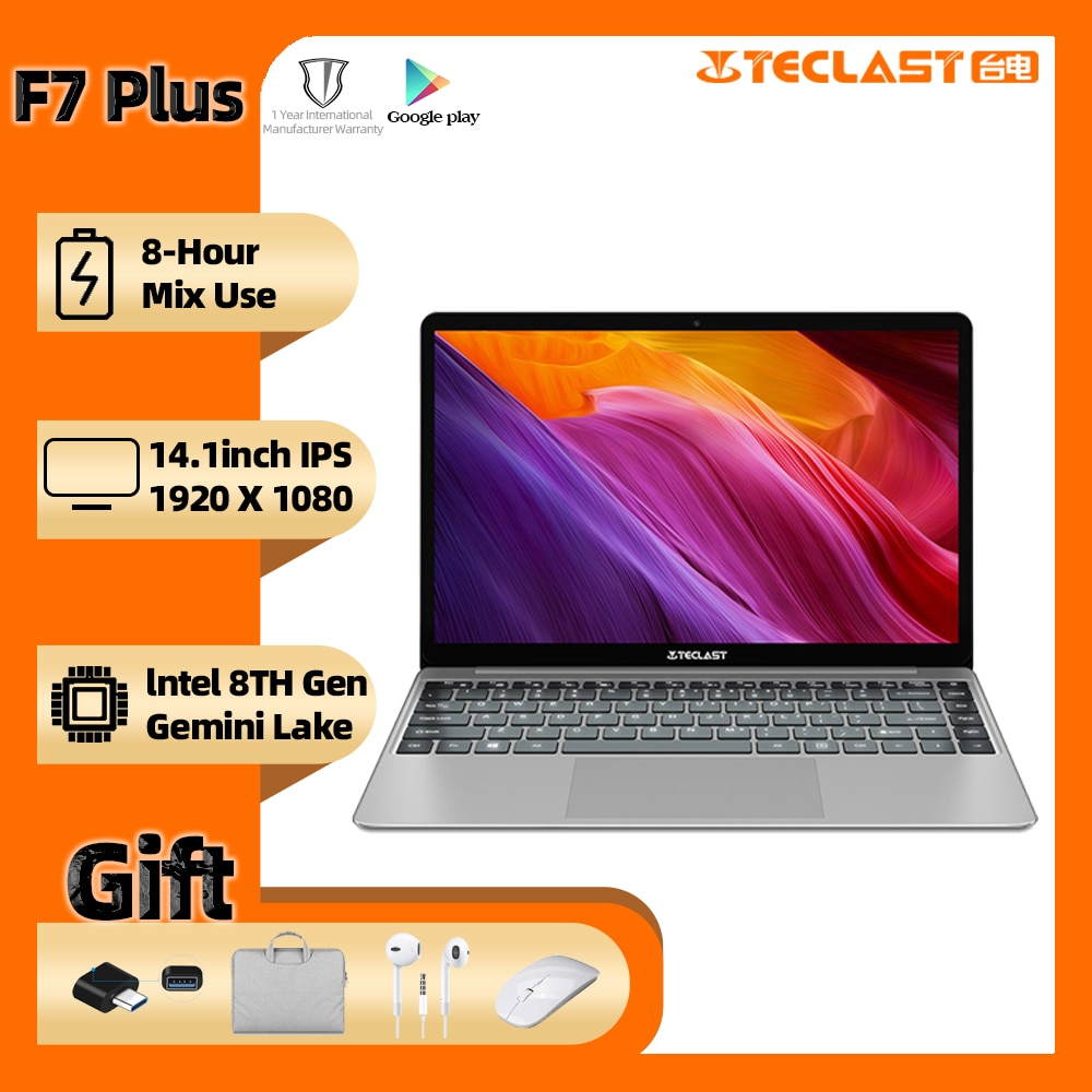 Promo Teclast F7 Plus Laptop 14.1″ Intel Gemini Lake N4100 12GB RAM 256GB SSD full HD 1920 x 1080 Windows 10 Backlit Keyboard Notebook