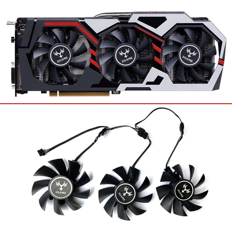 Вентилятор Охлаждения видеокарты 75 мм iGame GTX 1060 для цветной видеокарты iGame GeForce GTX 1070Ti GTX 1080 GTX 1050 Вентилятор охлаждения 4pin Замена