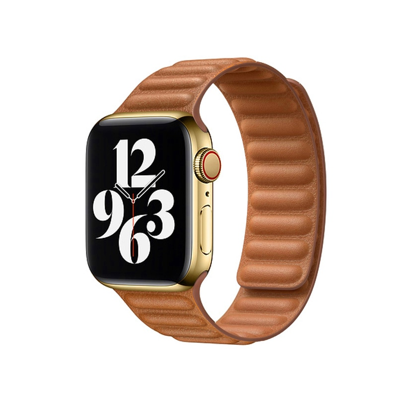 Leather link strap for Apple Watch band 44mm 40mm 42mm 38mm iwatch apple watch 6 5 4 3 2 1 SE magnet loop buckle bracelet belt
