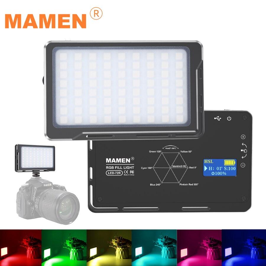 MAMEN 72LEDs RGB 1000K-9000K regulable a todo Color luz LED para vídeo fotografía Video estudio DSLR Cámara luz con caja Original