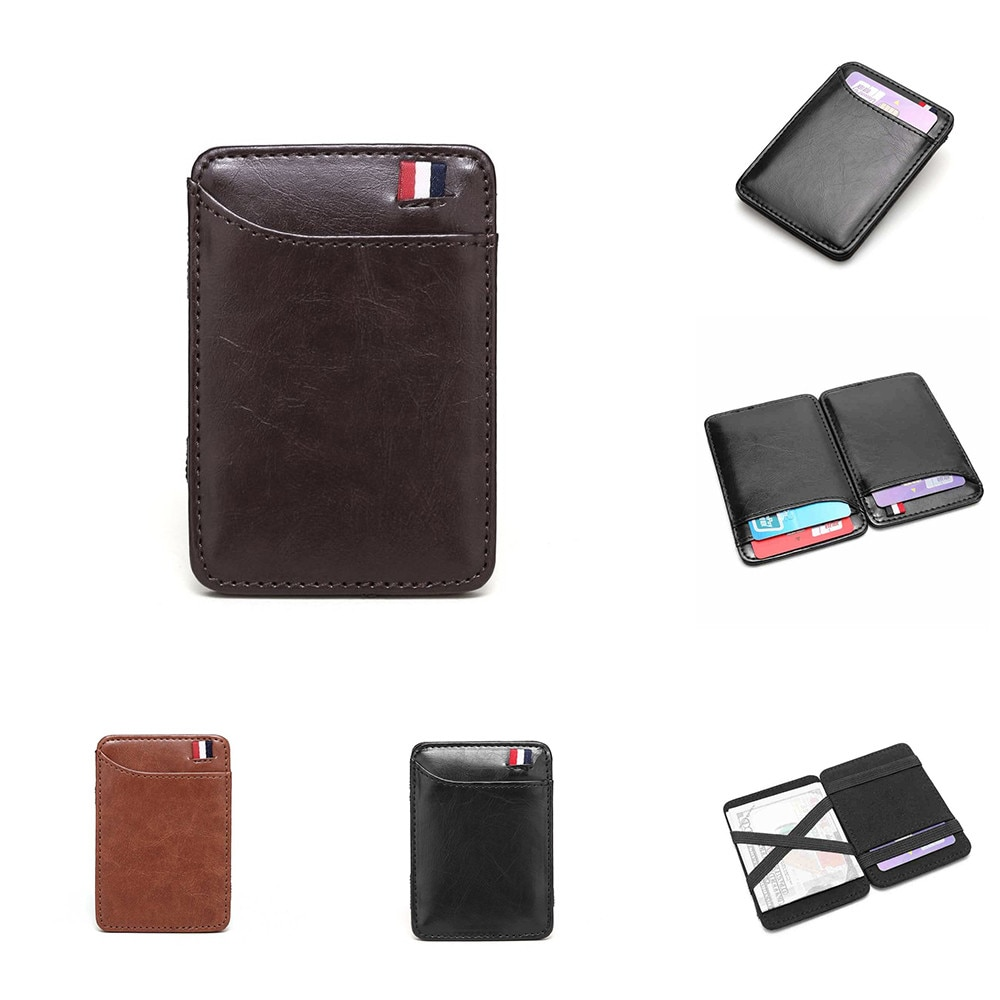 AliExpress - New Fashion Slim Men's Leather Magic Wallet Korea Designer Credit Card Holder Women Small Cash Clip Bilfold Man Clamps For Money