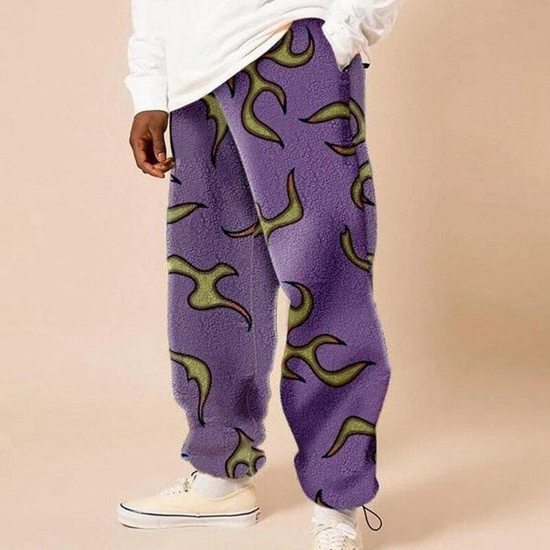 Laamei Winter Fleece Mens Harem Pants Thicken Warm Sweatpants Mens Harajuku Pants Comfort Slacks Women Men Streetwear Trousers