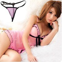 Factory Price Women Sexy Pink Lace Baby Dolls Nightdress With Lingerie Babydoll Set Sleepwear