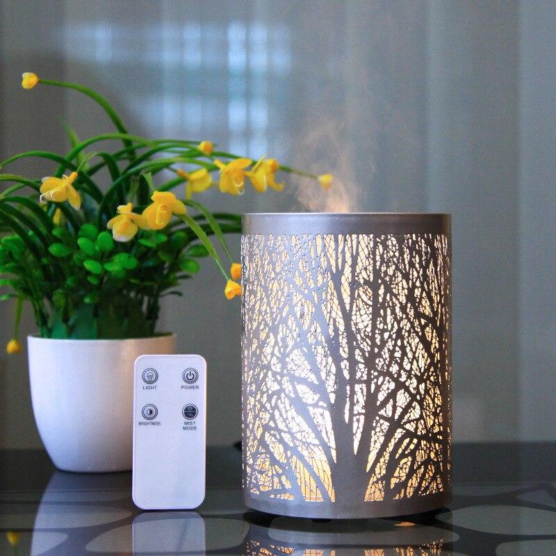 ناشر زيت عطري حديد مجوف ، منشر غابات بضوء أبيض دافئ ، مرطب هواء منزلي مع جهاز تحكم عن بعد