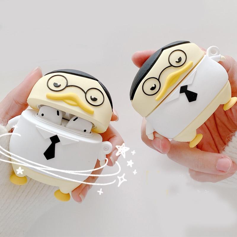 Para los Airpods Pro 3D de dibujos animados lindo gafas corbata pato estuche para audífonos para los Airpods de Apple 1, 2, 3, el Sr. Pato auricular inalámbrico Protector de la cubierta