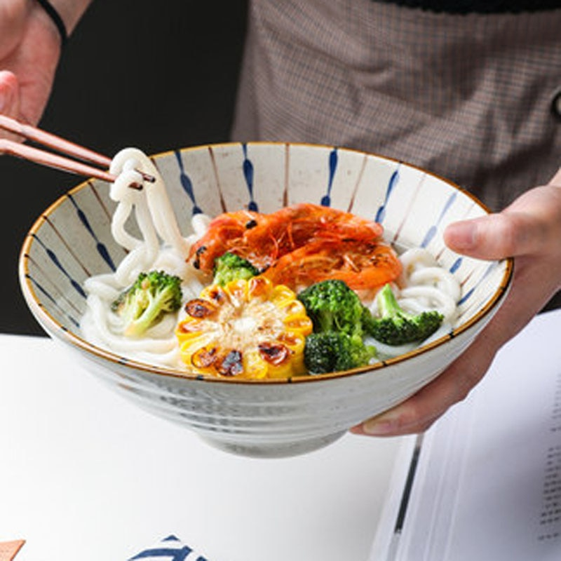 FANCITY اليابانية السيراميك رامين السلطانية ، طبق للنودلز ، وعاء الحساء ، وعاء قبعة ، طبق للنودلز ، سلطة طبق للنودلز الفورية ، الجدول الياباني