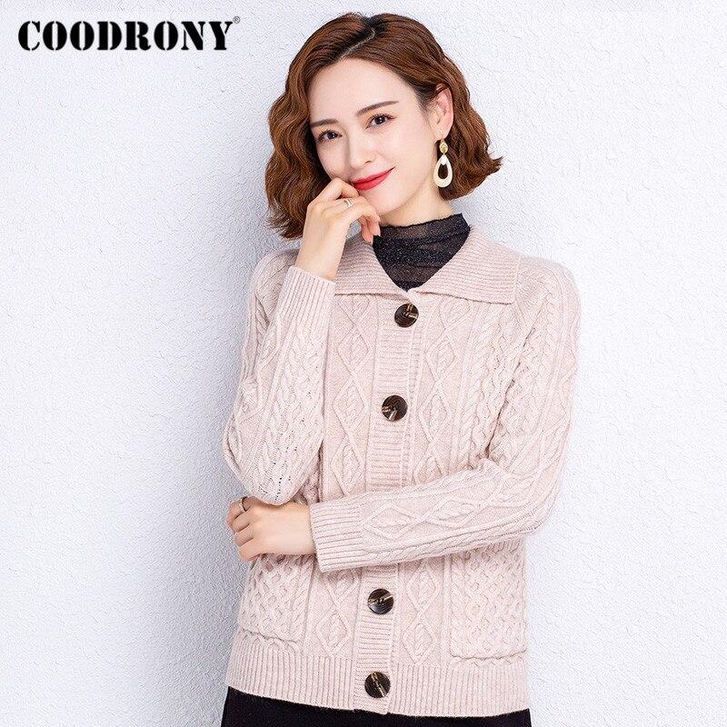 Брендовые элегантные модные женские облегающие кардиганы COODRONY, осенне-зимние вязаные женские повседневные теплые свитера W1446