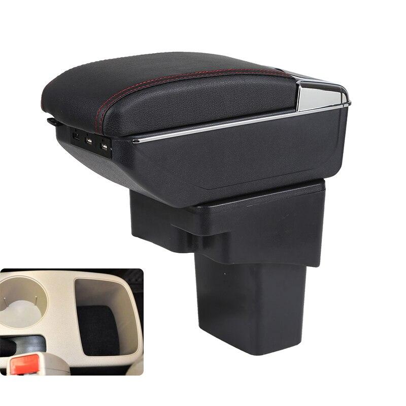 Caixa de armazenamento braço para hyundai solaris verna avega grande console central do carro caixa dupla camada 7 portas carregamento usb preto bege