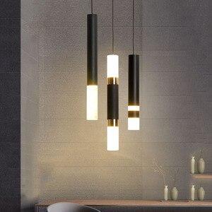 Thrisdar Modern Long Tube LED Pendant Lights Restaurant Dining Room Shop Bar Table Hanging Light Bedroom Bedside Pendant Lamp