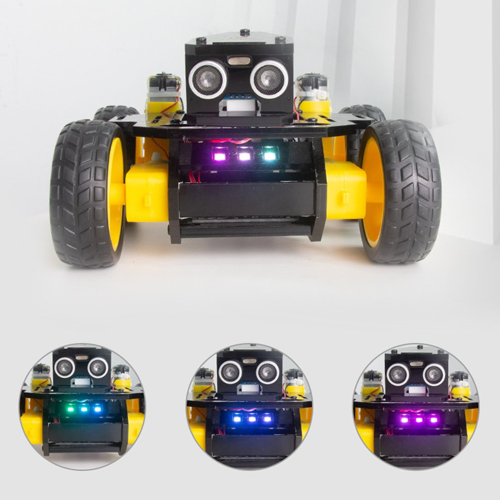Science Education Toys Four Wheeled Car Robot Trace Programming App Control Obstacle Avoidance Function