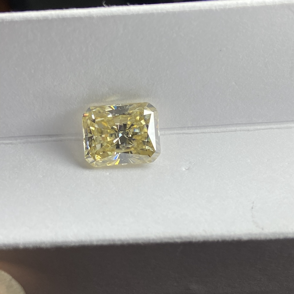 Meisidian مشع قطع 8X10mm 4CTS يتوهم حية ضوء أصفر مويسانيتي فضفاض خاتم الماس صنع