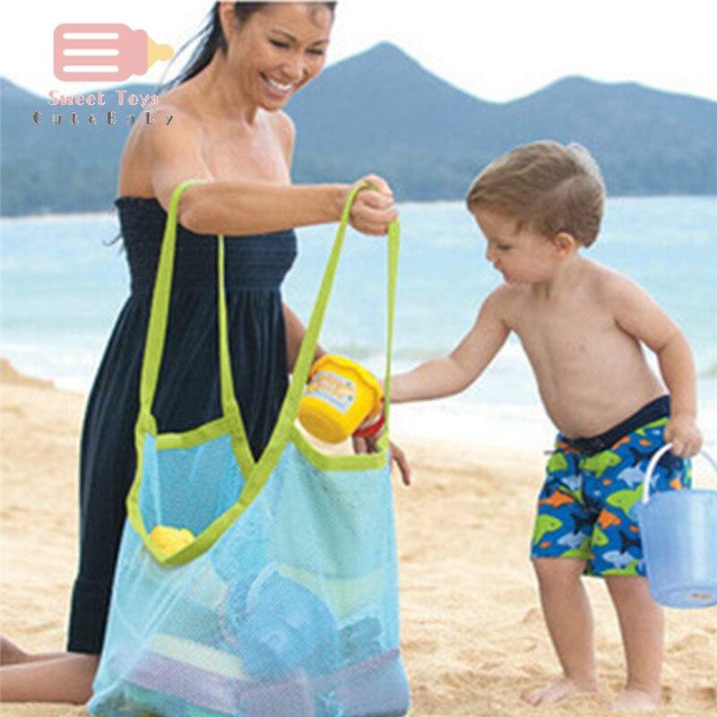 Brinquedos de praia malha areia longe saco ao ar livre mãe bebê brinquedos de praia saco verão escavação areia ferramenta diversos armazenamento sacos de mão tamanho grande