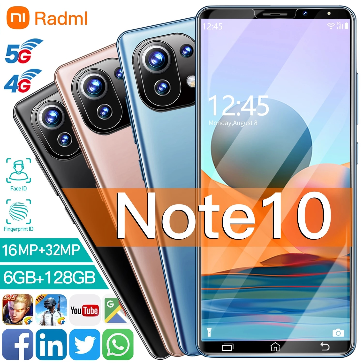 Note10 6.1inch Unlocked 10 Core Android10.0 Smartphones 4800mAh 6+128GB Mobile Phones 5G Network CellPhone MTK 6763 Mobilephone