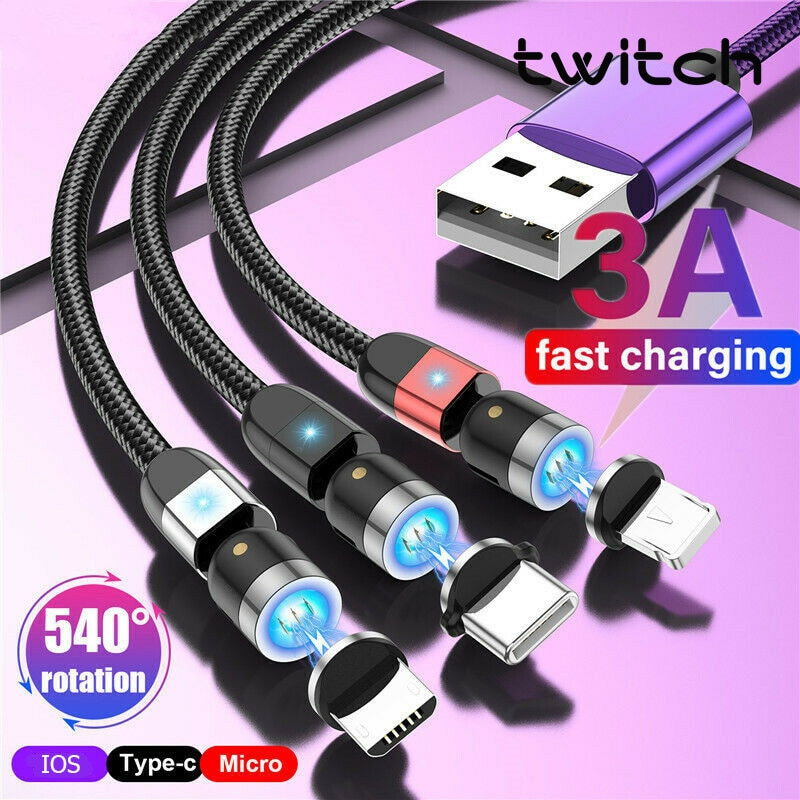 Twitch-Cable magnético giratorio 540 para móvil, Cable de datos de carga rápida...