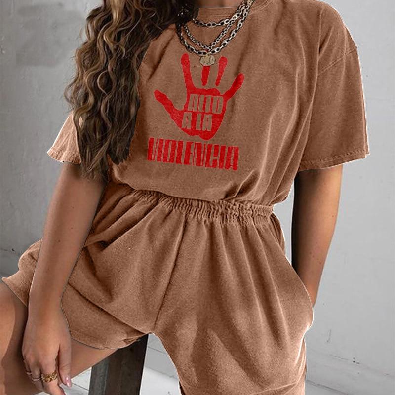 Hand Print Coffee T Shirt Vintage 2 Piece Set Women Fashion Casual Short Sleeve Tops Short Tracksuit Sets 2021 Summer Sweatshirt