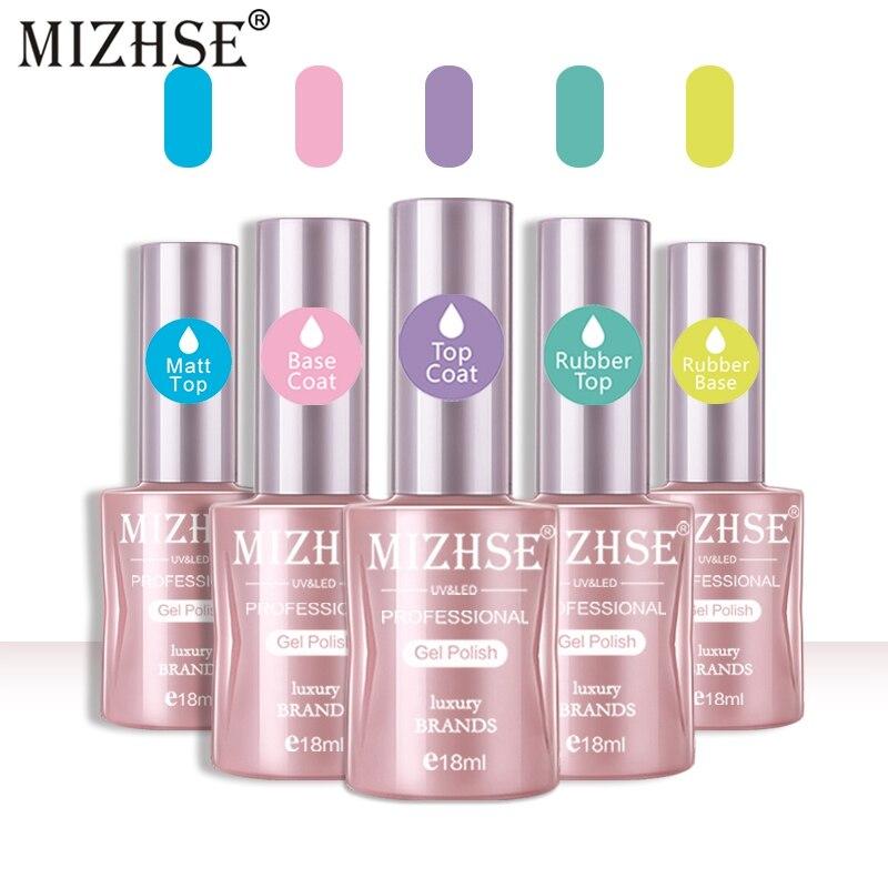 Esmalte de uñas de Gel UV MIZHSE 5 uds 18ml mate capa superior RubberTop y capa Base de larga duración remojar Gel UV de manicura