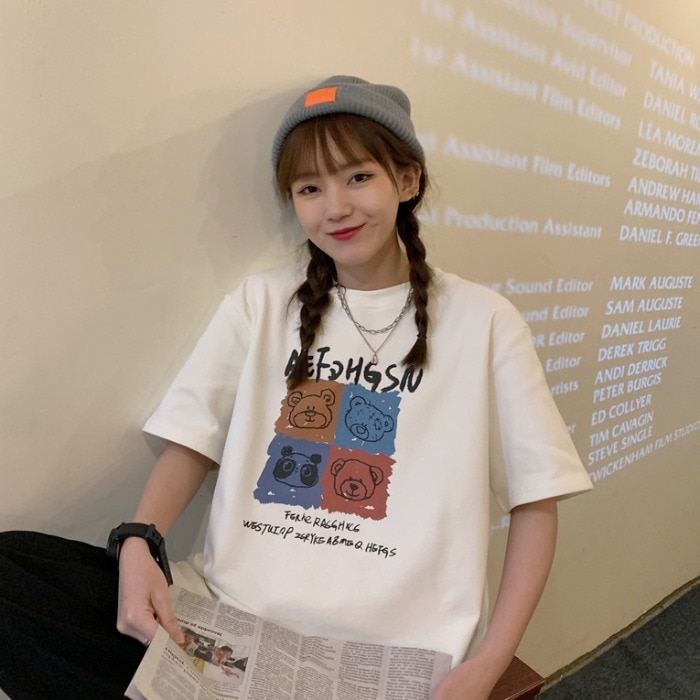 Super Popular Cartoon Printed Short-Sleeved T-shirt for Women Spring 2021 New Western Style Mid-Leng