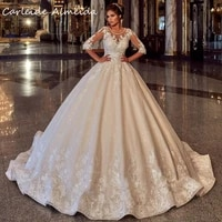 scoop neck ball gown princess lace wedding dress 2021 with half sleeves wedding gowns customized women bridal dress