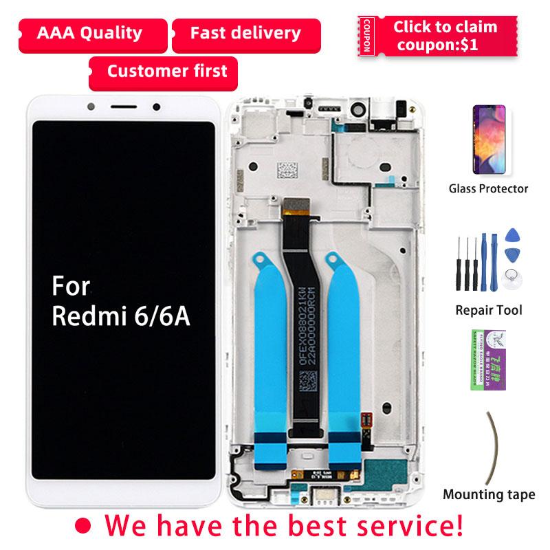 LCD Original para Xiaomi Redmi 6A pantalla táctil LCD con marco digitalizador piezas de reparación 6A LCD para pantalla Redmi 6