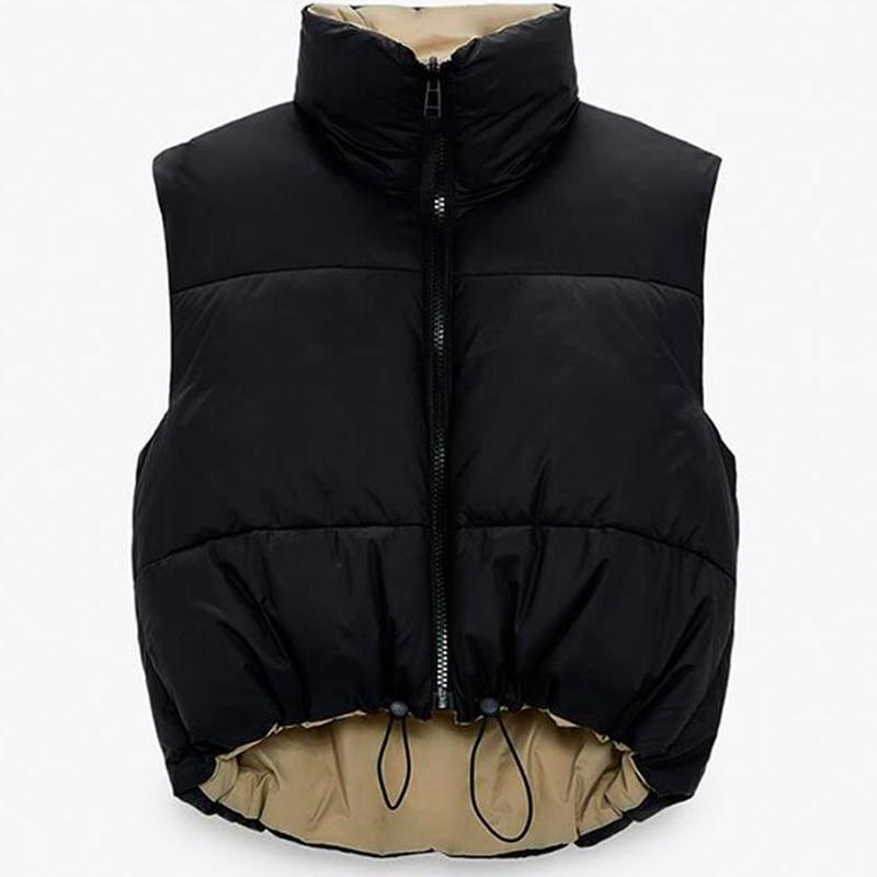 Cropped Vest Women Coat Sleeveless Down jacket Parkas Waistcoat Down Coat Female Outerwear Chic Top