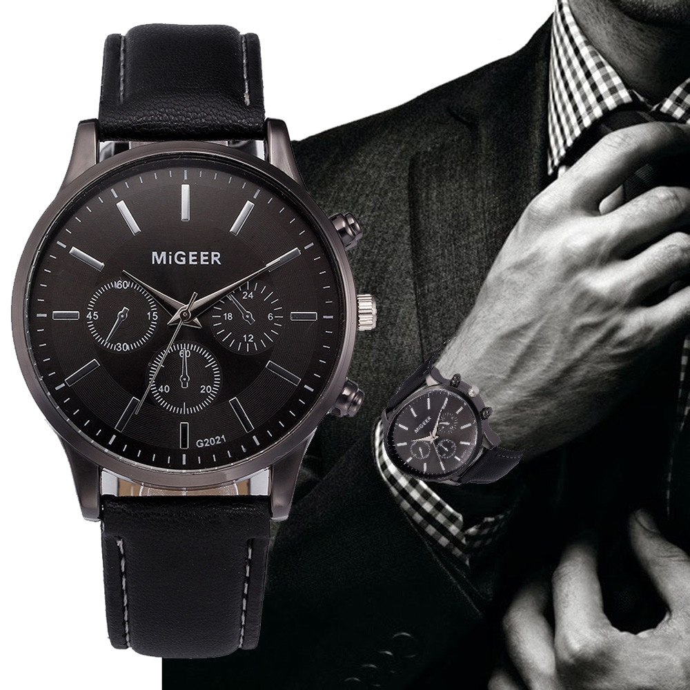 Fashion Retro Design Leather Band Analog Alloy Quartz Wrist Watch Mens Luxury Wristwatch Relogio Mas