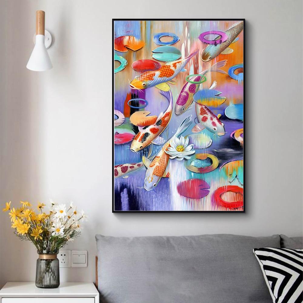 HDARTISAN pared arte lienzo de impresión de animales pintura Animal cuadro para sala de estar peces en estanque decoración del hogar sin marco