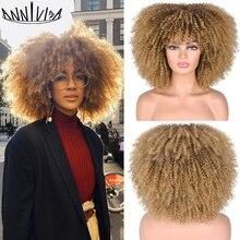 Peluca Afro rizada de Pelo Corto con flequillo para mujeres negras, pelo sintético mezclado, marrón y Rubio, sin pegamento, para Cosplay, resistente al calor