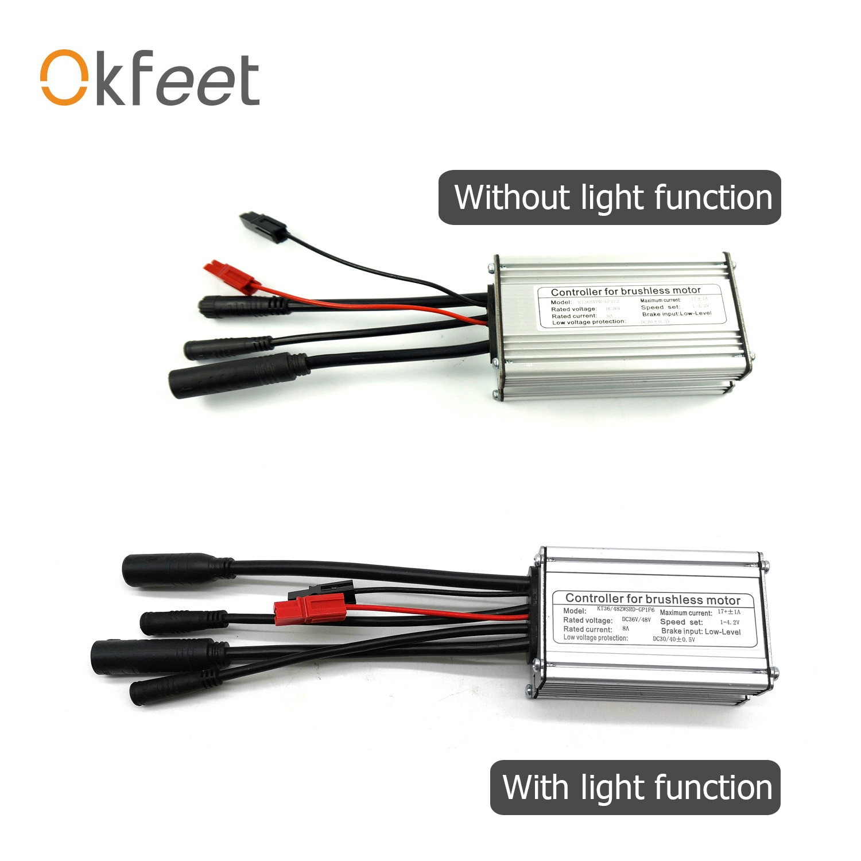 Controlador de onda cuadrada Okfeet con mando KT eléctrico para bicicleta eléctrica conversión 36V 48V 17 a prueba de agua para Motor de buje de 350W