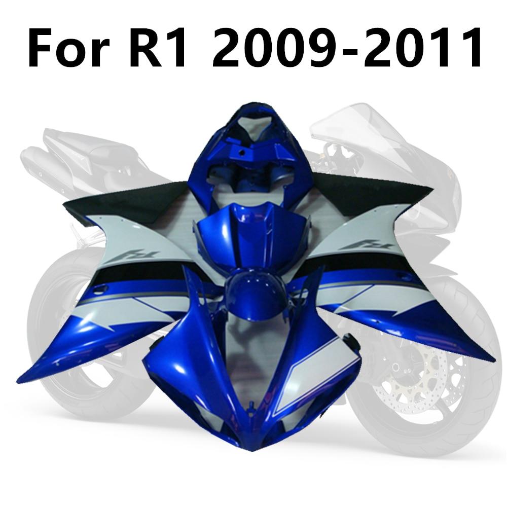 طقم انسيابية للدراجات النارية ، طقم جسم مع حقن للدراجات النارية ، كلاسيكي ، أزرق ، لـ Yamaha YZF1000 R1 2009-2011 R1 09-10-11