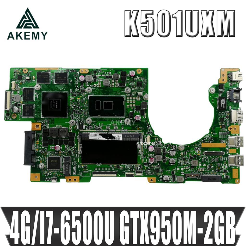 Akemy Новинка! K501UXM материнская плата для ноутбука For Asus K501UW K501UXM K501UQ оригинальная материнская плата DDR4 4G-RAM I7-6500U GTX950M-2GB