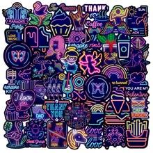 Dibujos Animados púrpura creativo neón Graffiti decoración ordenador portátil Scooter impermeable guitarra pegatina juguete al por mayor, 10/30/50 Uds.