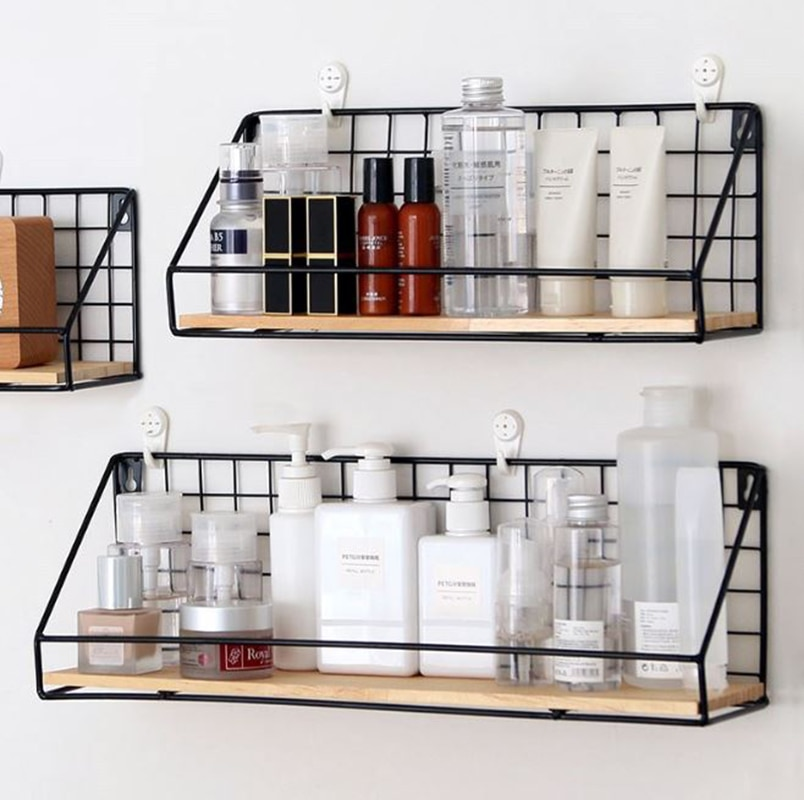 Wooden&Iron Wall Shelf Organizer Holder Kitchen Supplies Hanging Storage Cabinet Organizer for Home/ Bathroom/ Household Items