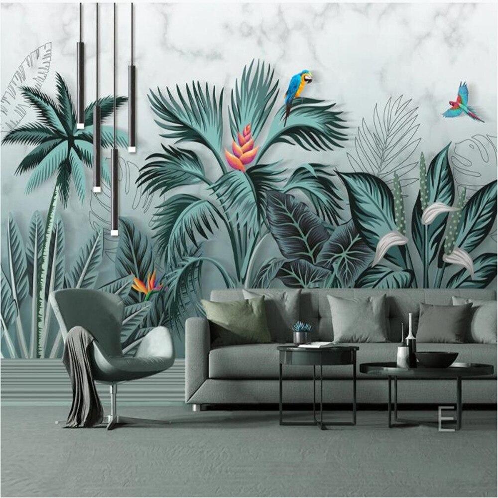Papel pintado grande personalizado milofi, mural pintado a mano, plantas tropicales de selva HD, sala de estar, dormitorio, TV, Fondo de pared
