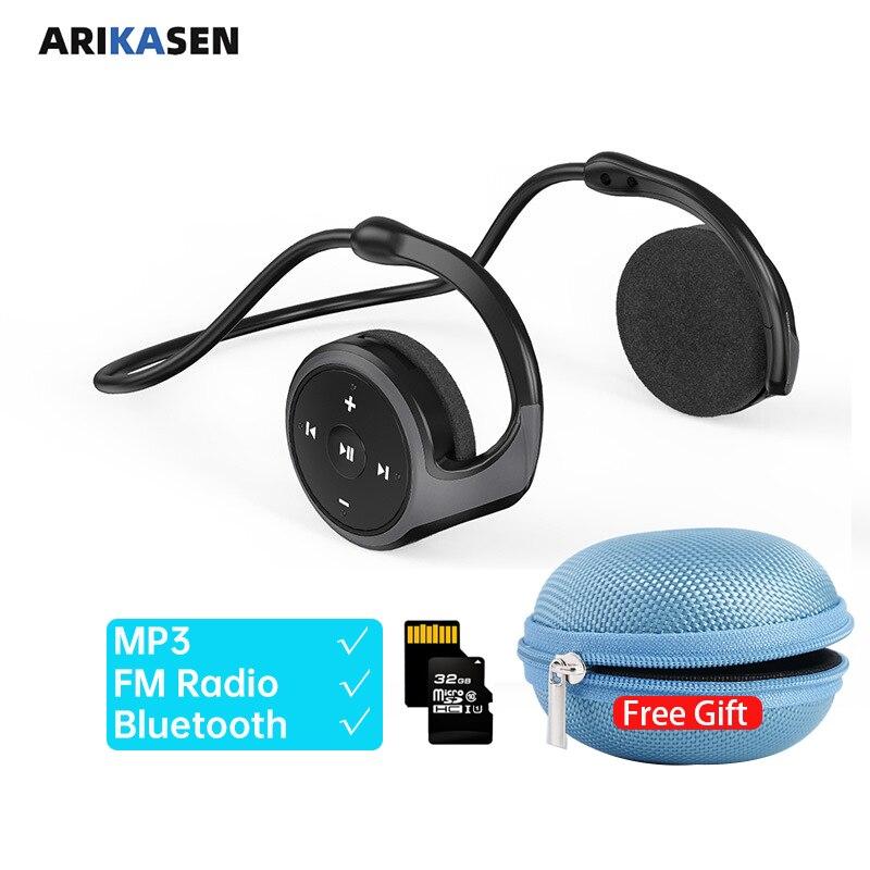Sport Bluetooth Headphones MP3 player FM Radio Microphone 10 hours Music Wireless Headsets TF Card Bluetooth Wireless Earphones