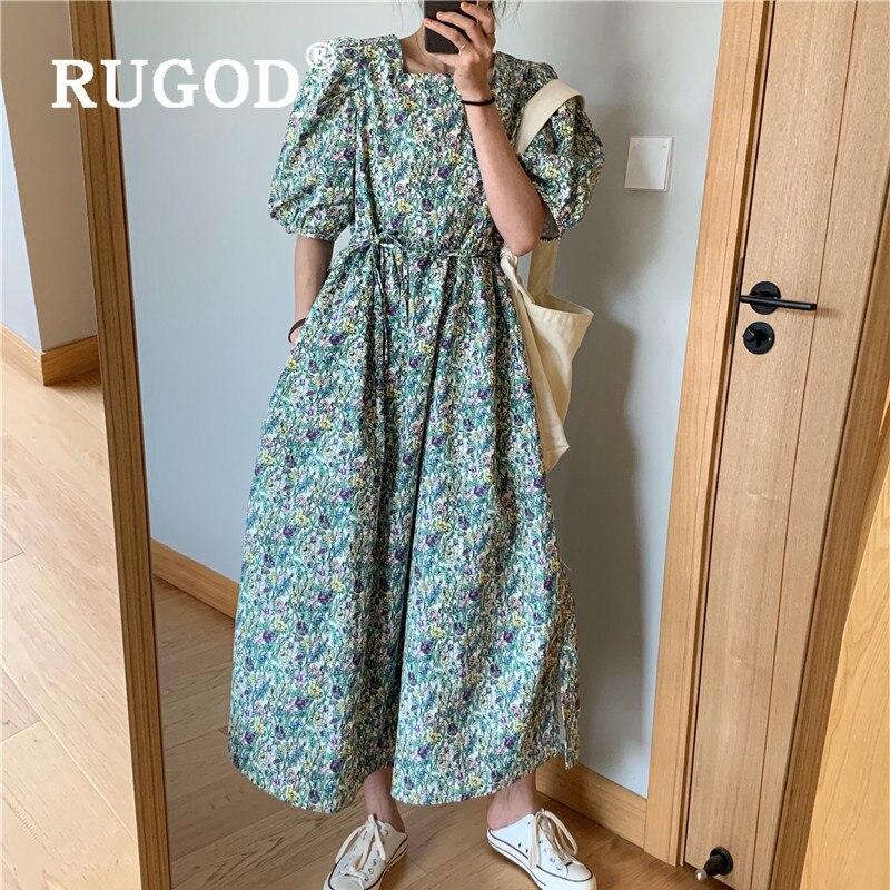 Платье женское прямое с цветочным принтом, винтажный бандажный сарафан средней длины, на пуговицах, с пышными рукавами, новинка 2020, летняя о...