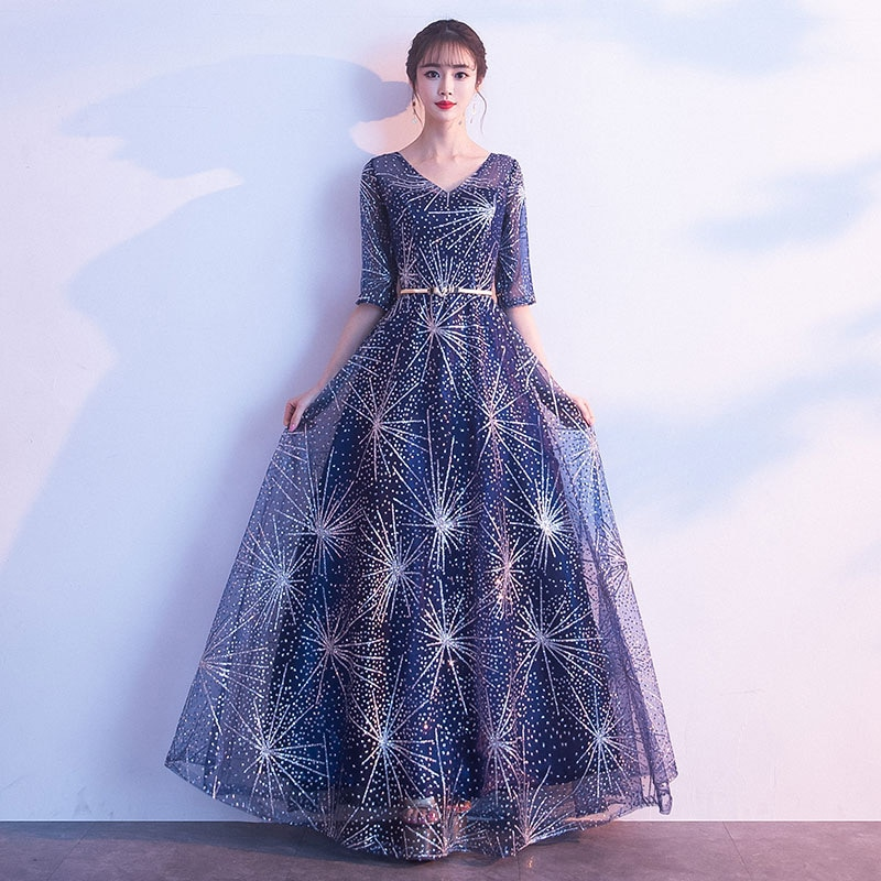 فستان سهرة أنيق باللون الأزرق الداكن ، ياقة على شكل v ، جوقة طويلة ، فستان مأدبة ، مجموعة ربيع الخريف الجديدة ، فستان ترابيز شبكي رائع