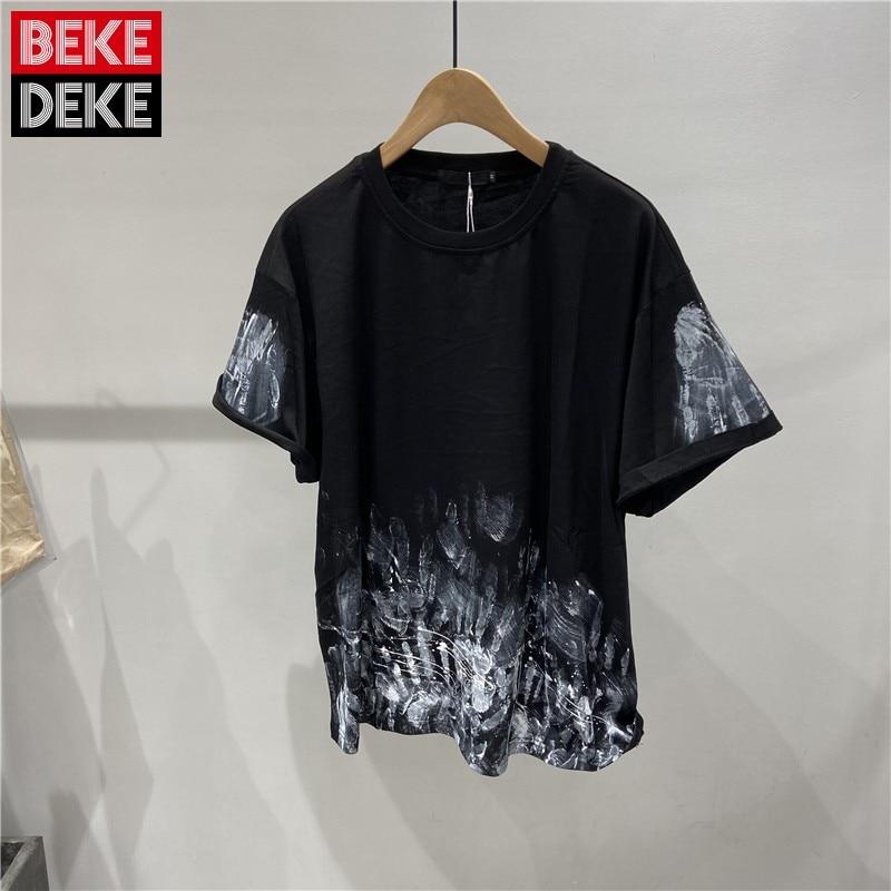 Best Seller Summer Men Design O-Neck Short Sleeve T Shirt Graffiti Painted Hip Hop T Shirt Male Street Thin Loose Pullover Tops