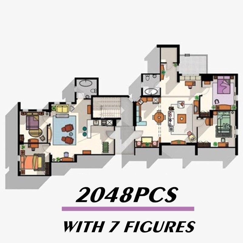 Новинка 10292, 2048 шт., 7 фигурок, друзья, квартиры, американский ТВ-театр, строительные блоки, кирпичи, развивающие игрушки, подарки