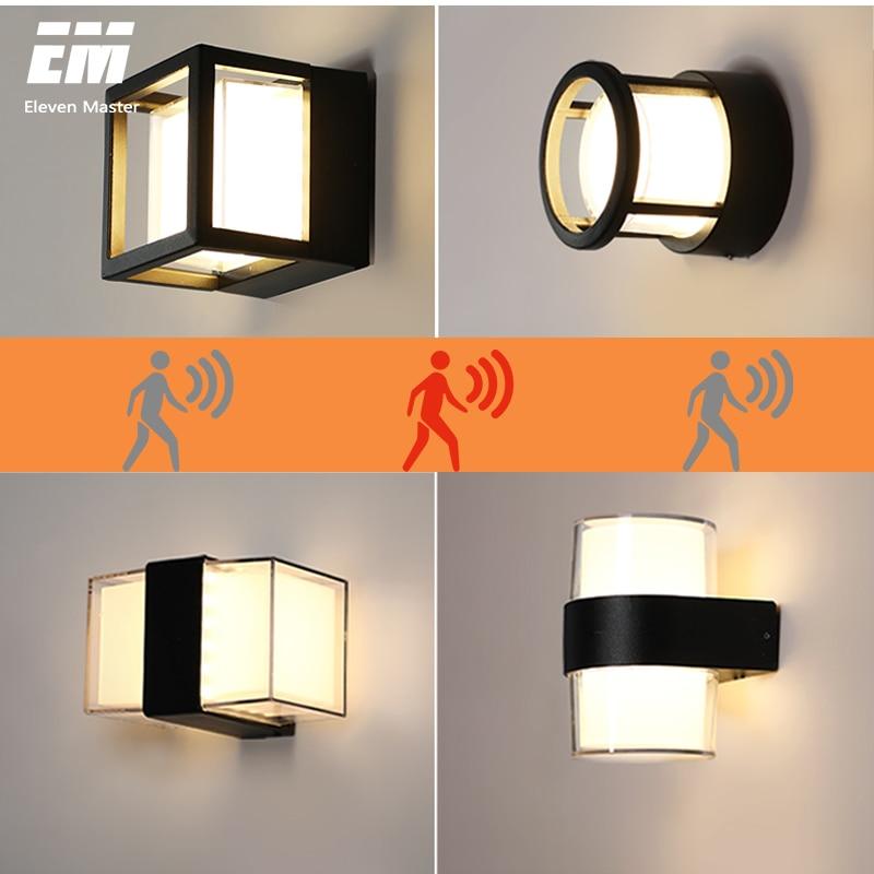 Luz de pared LED con detección de movimiento del cuerpo humano IP65 lámpara de pared impermeable para exteriores accesorio de luz de jardín AC90-260V de aluminio ZBW0006