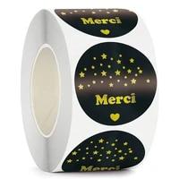 100 500pcs french golden font merci sticker gift hospitality bag decoration label diy wedding party scrapbook sticker 3 8cm 5cm
